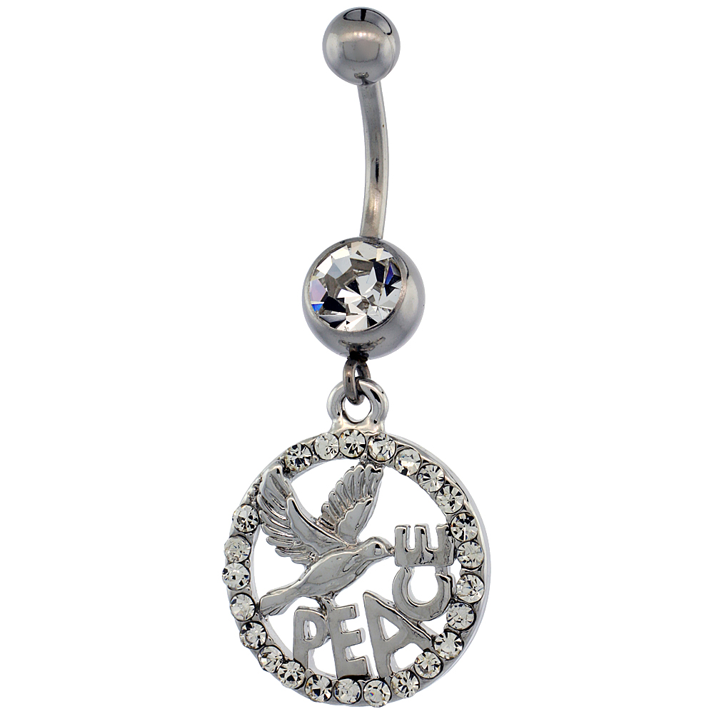 Surgical Steel Barbell PEACE Belly Button Ring w/ Crystals, 1 3/16 inch