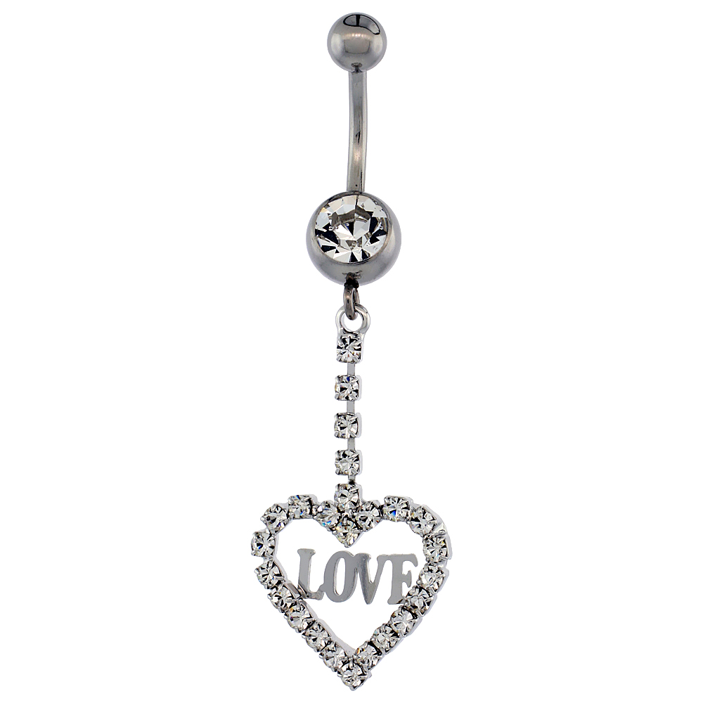 Surgical Steel Heart (LOVE) Belly Button Ring w/ Crystals, 1 5/8 inch (41 mm) tall (Navel Piercing Body Jewelry)