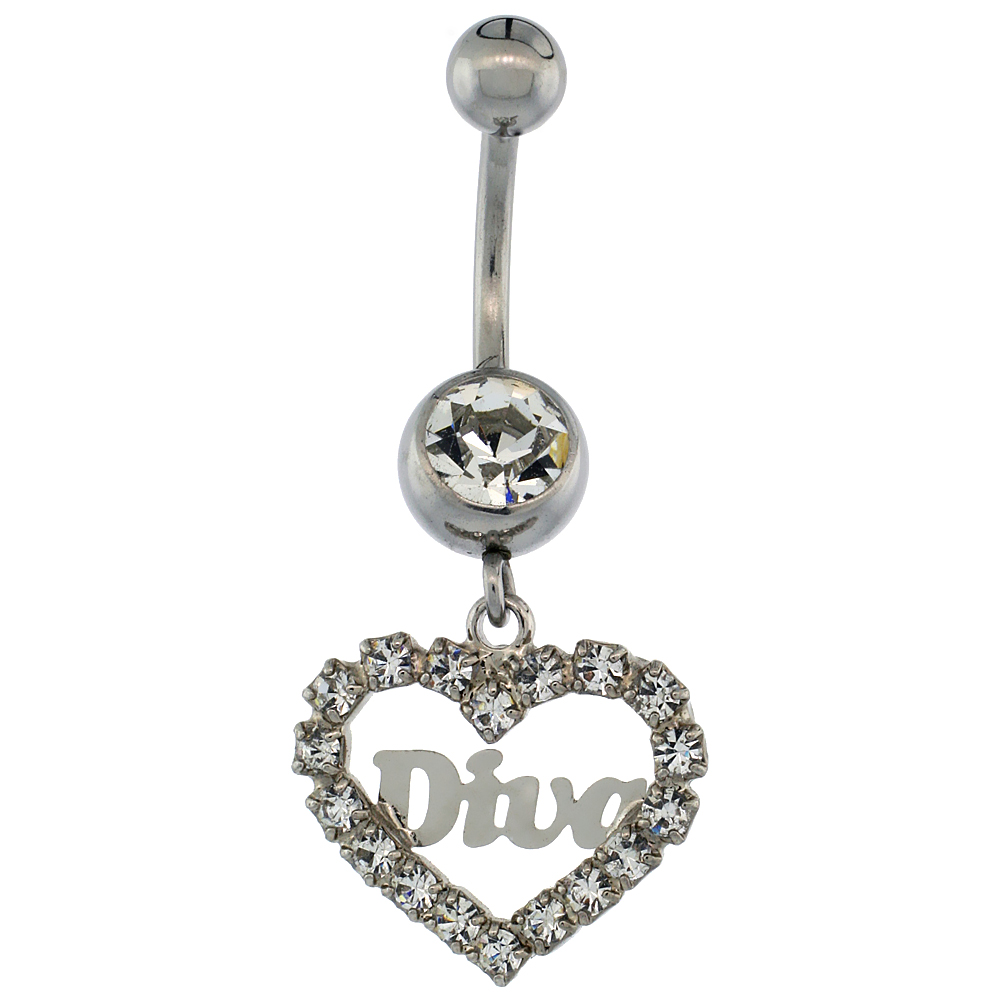 Surgical Steel Barbell Heart DIVA Belly Button Ring w/ Crystals, 1 inch