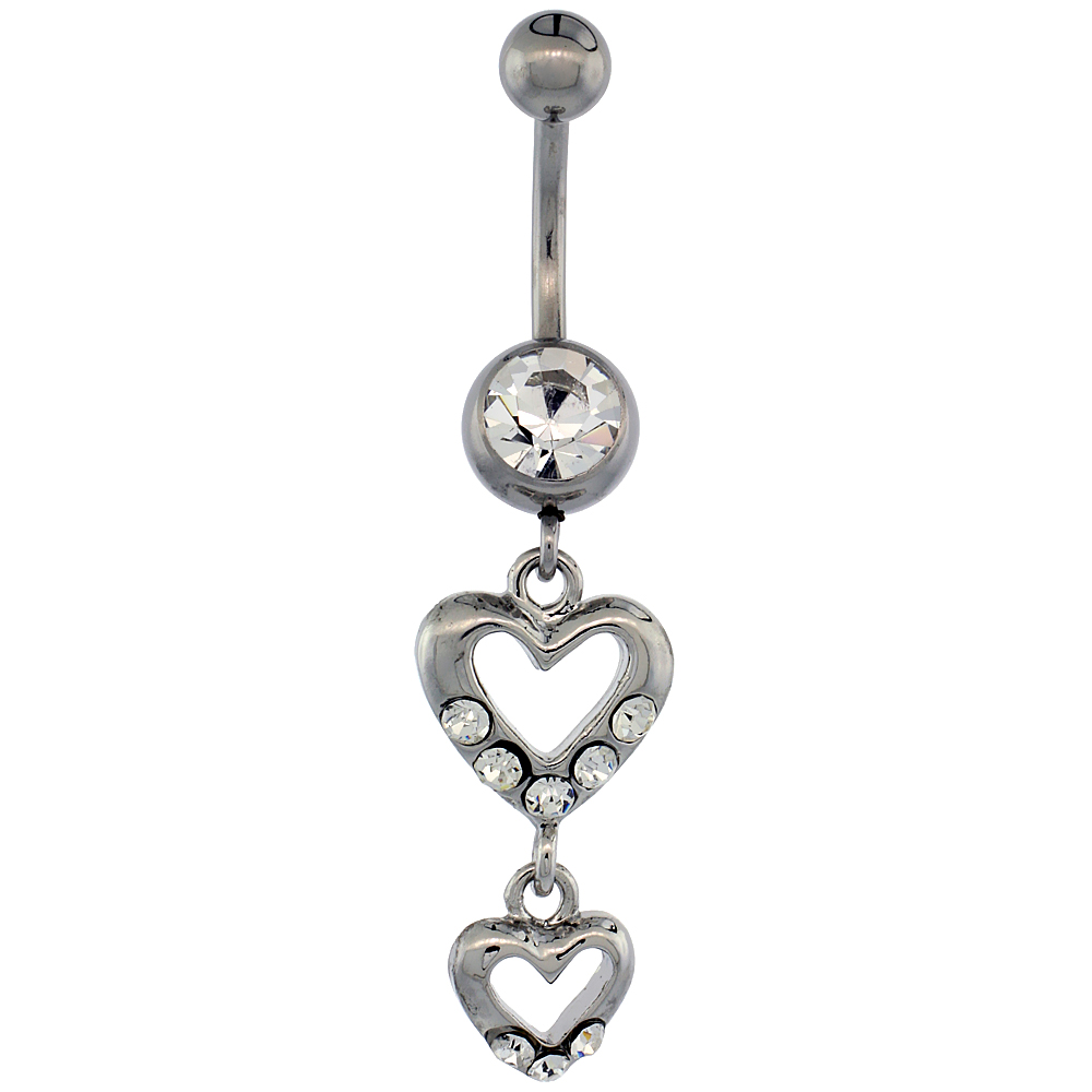 Surgical Steel Barbell Double Heart Cut Out Belly Button Ring w/ Crystals, 1 5/16 inch