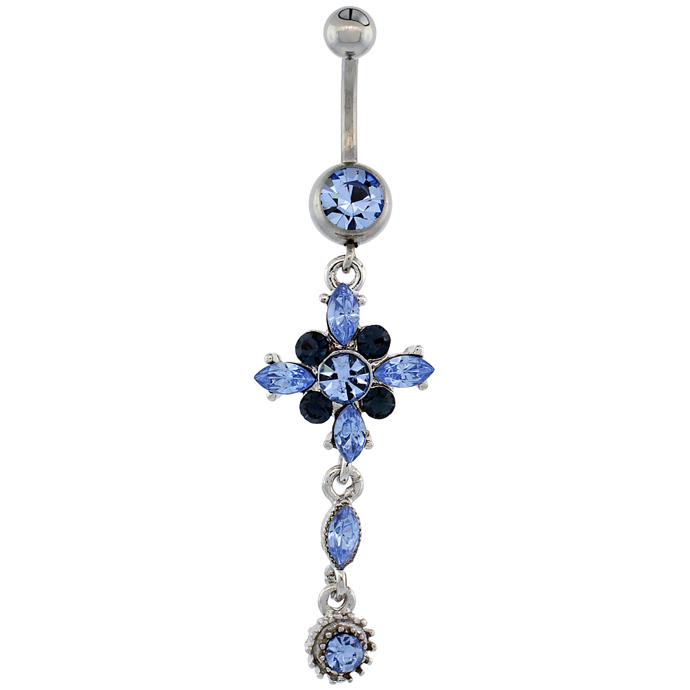 Surgical Steel Flower Belly Button Ring w/ Blue Crystals, 2 inch (50 mm) tall (Navel Piercing Body Jewelry)