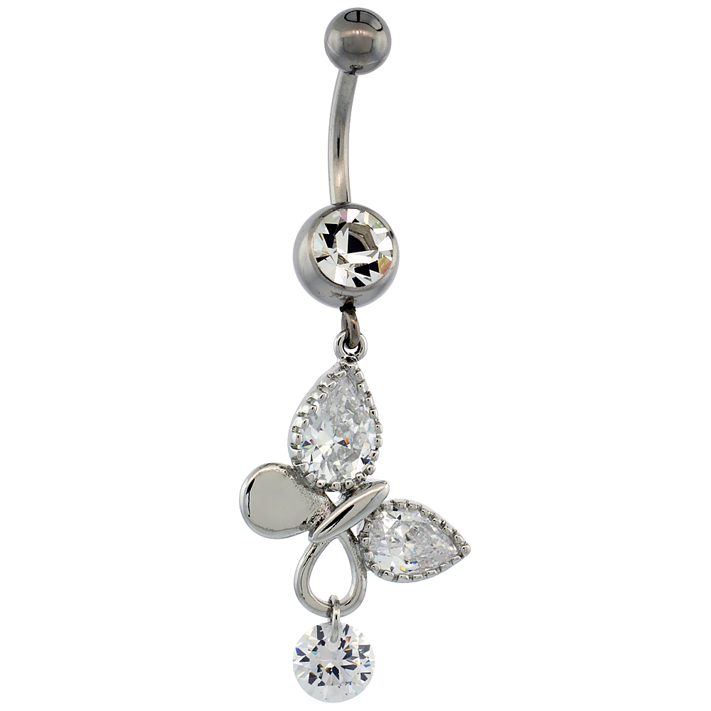 Surgical Steel Barbell Butterfly Belly Button Ring w/ Crystals, 1 1/2 inch