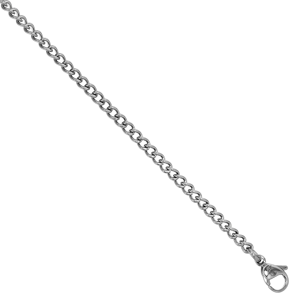 Surgical Steel 3 mm Curb Link Cuban Chain Necklace, sizes 18, 20 and 24 inch