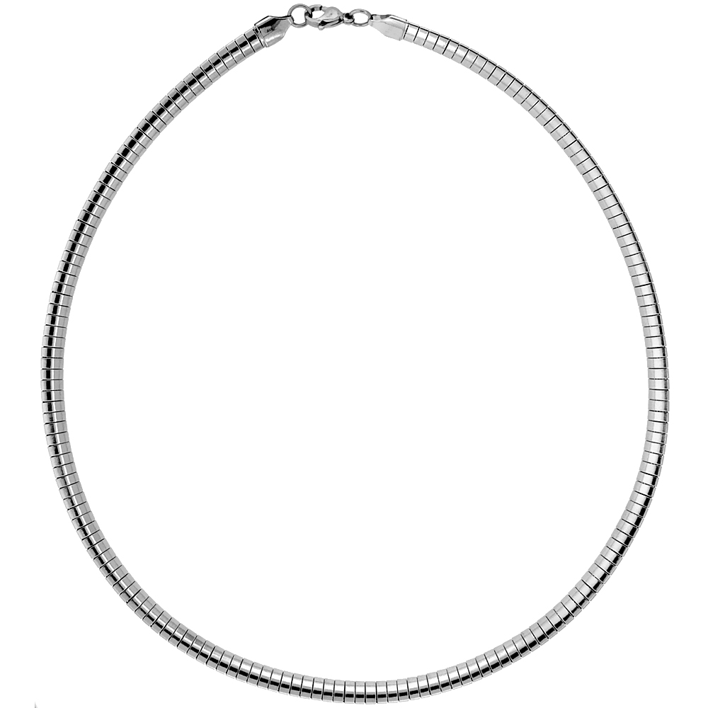 Stainless Steel Omega Necklace 6 mm, sizes 16 & 18 inch lengths
