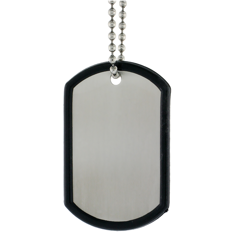 Stainless Steel Dog Tag and Silencer Full Size 2 x 1 1/4 in. with 30 in. 2 mm Ball Chain.