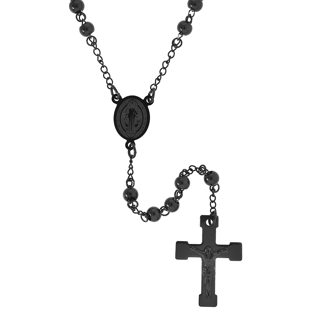 Stainless Steel 30 inch Rosary Necklace w/ 6mm Beads, Black Finish