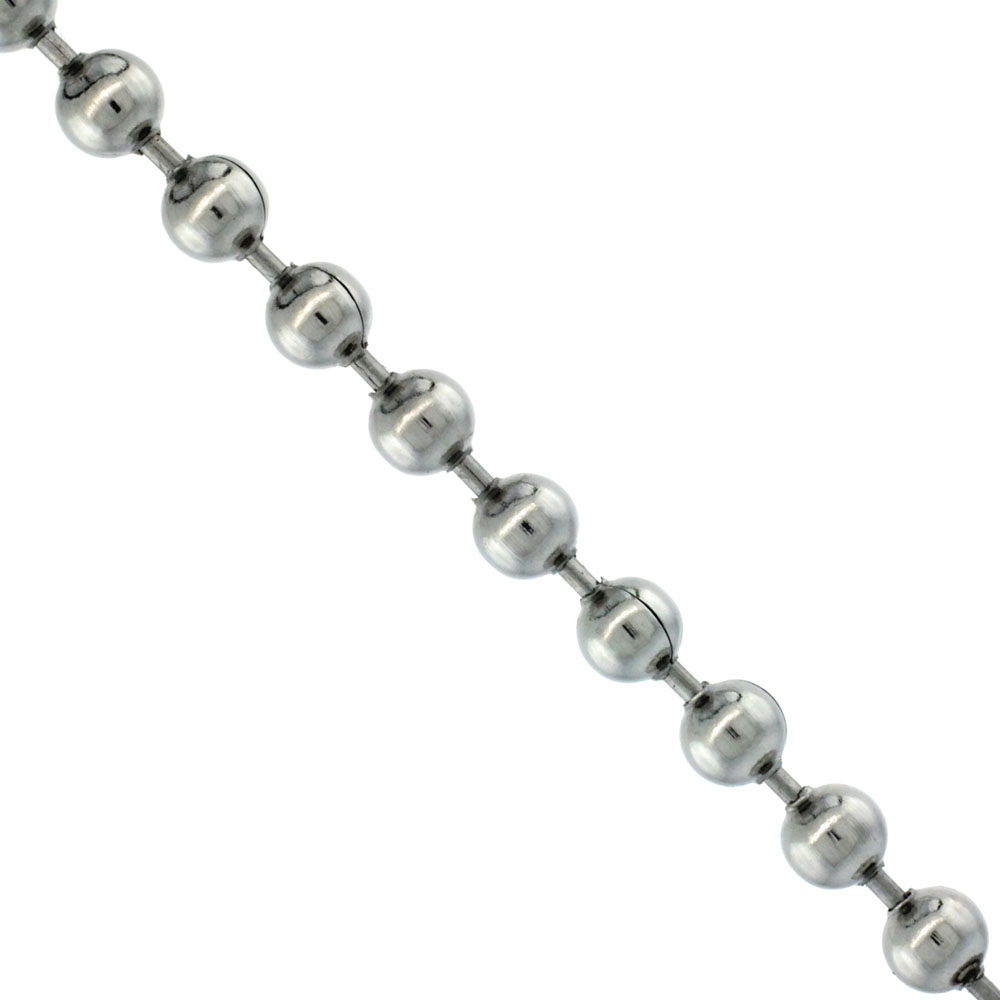 Stainless Steel Bead Ball Chain 5 mm Chain By the Yard