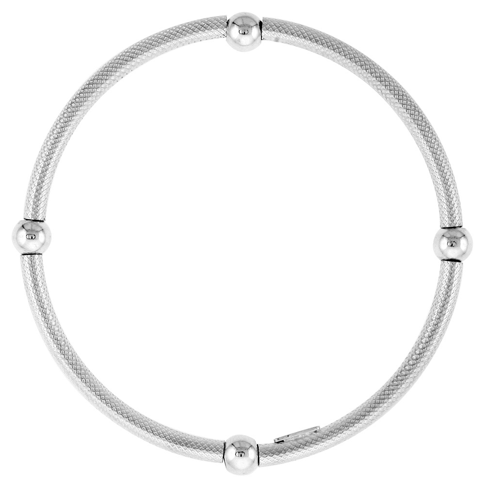 Sterling Silver Textured Stretch Baby Bangle Bracelet, 4 section Single Bead