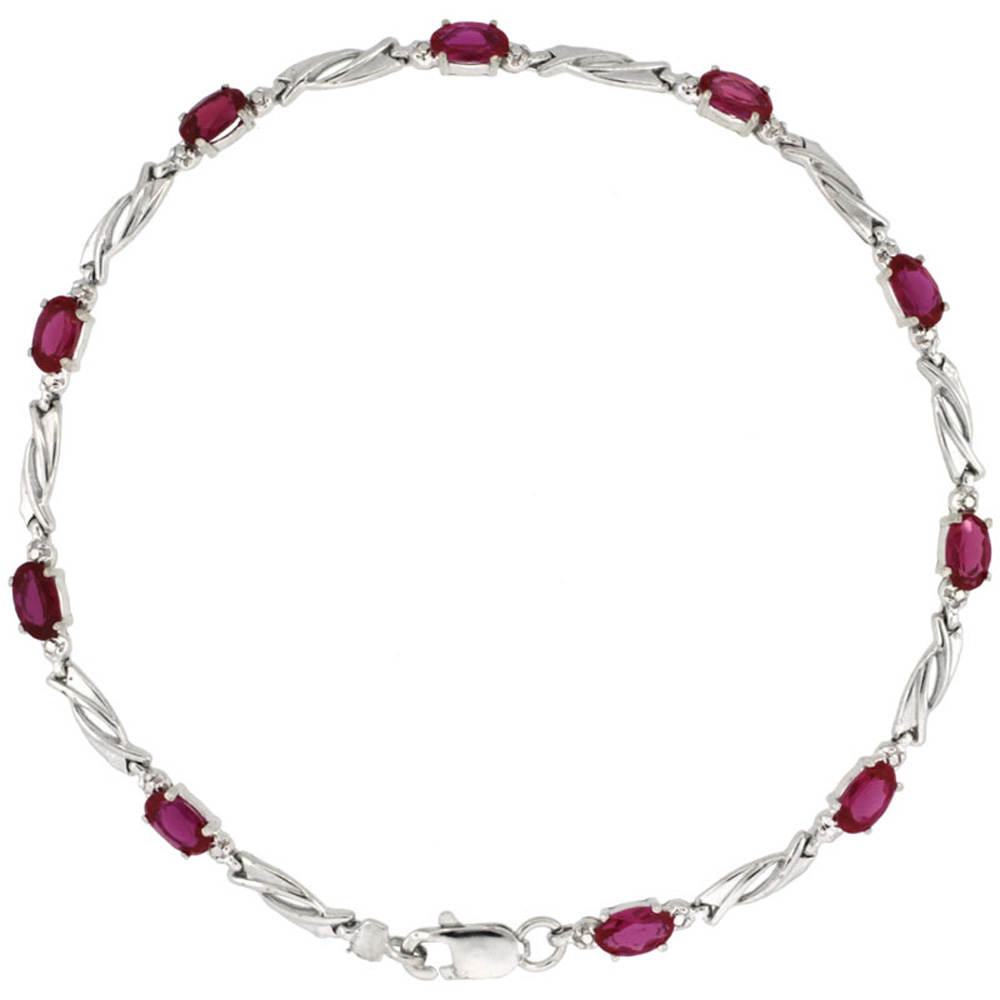 10k White Gold Swirl Tennis Bracelet 0.05 ct Diamonds & 2.50 ct Oval Created Ruby, 1/8 inch wide