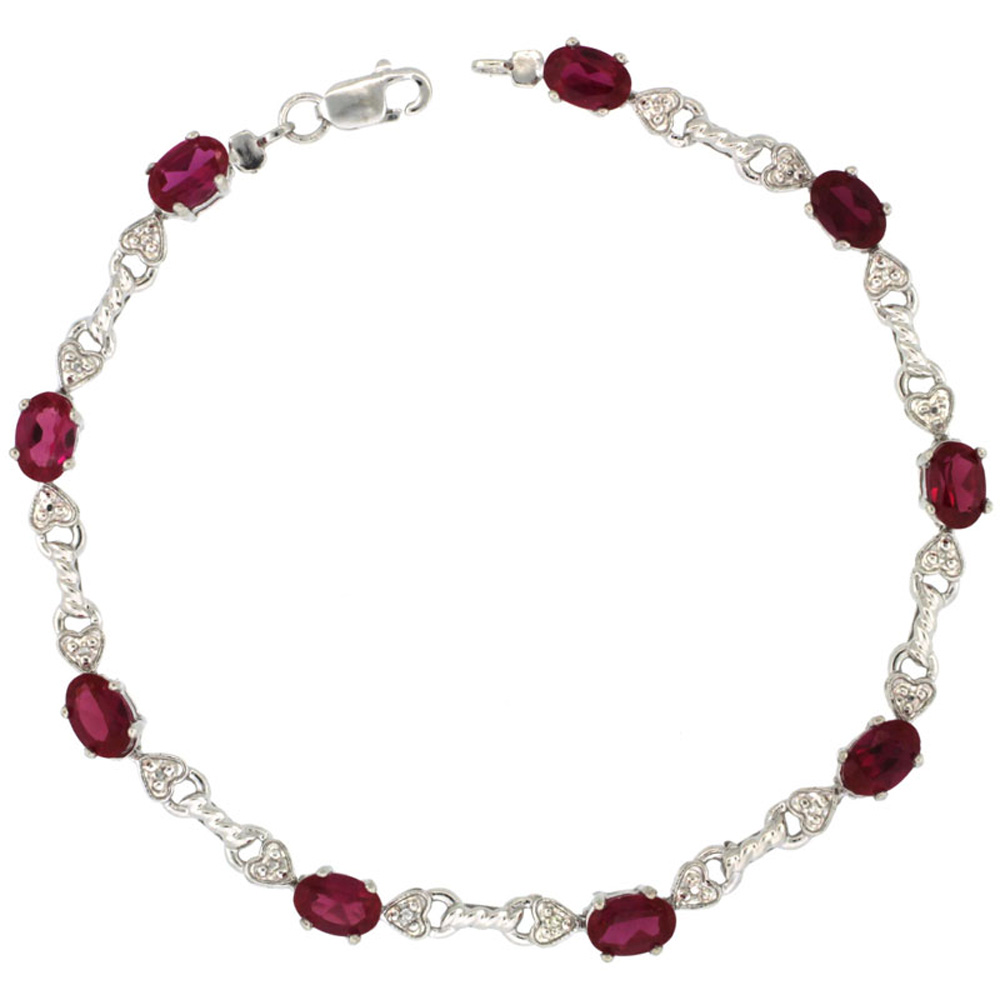 10k White Gold Braided Heart Tennis Bracelet 0.02 ct Diamonds & 4.50 ct Oval Created Ruby, 3/16 inch wide
