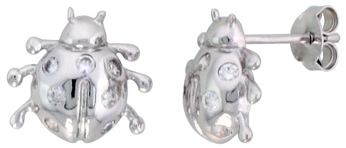 Sterling Silver Jeweled Ladybug Post Earrings, w/ Cubic Zirconia stones, 7/16 (11 mm)""