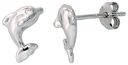 Sterling Silver Jeweled Dolphin Post Earrings, w/ Cubic Zirconia stones, 3/8 (9 mm)""