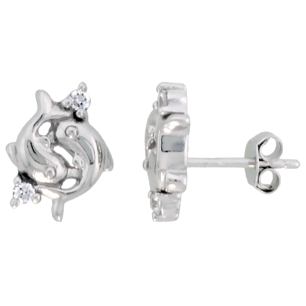 Sterling Silver Jeweled Dolphin Post Earrings, w/ Cubic Zirconia stones, 7/16 (12 mm)""