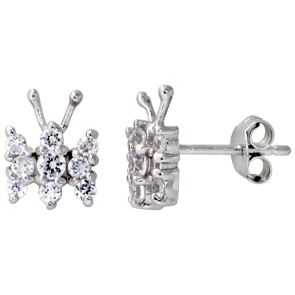 Sterling Silver Jeweled Butterfly Post Earrings, w/ Cubic Zirconia stones, 3/8 (10 mm)""