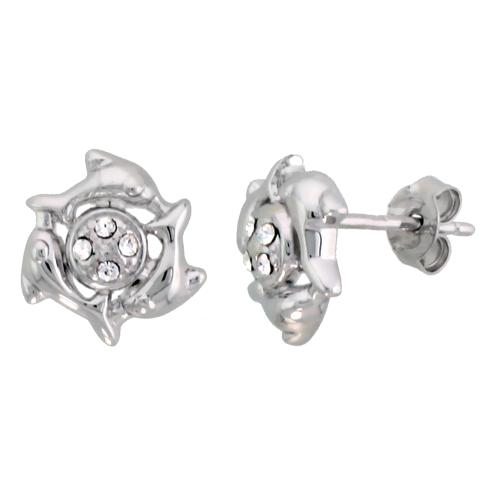 Sterling Silver Jeweled Dolphin Post Earrings, w/ Cubic Zirconia stones, 7/16 (11 mm)""