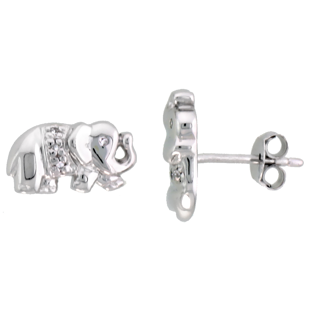 Sterling Silver Jeweled Elephant Post Earrings, w/ Cubic Zirconia stones, 1/4 (7 mm)""