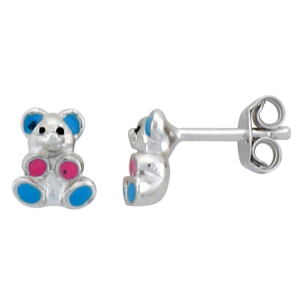Sterling Silver Child Size Teddy Bear Earrings, w/ Blue & Pink Enamel Design, 1/4 (7 mm) tall""