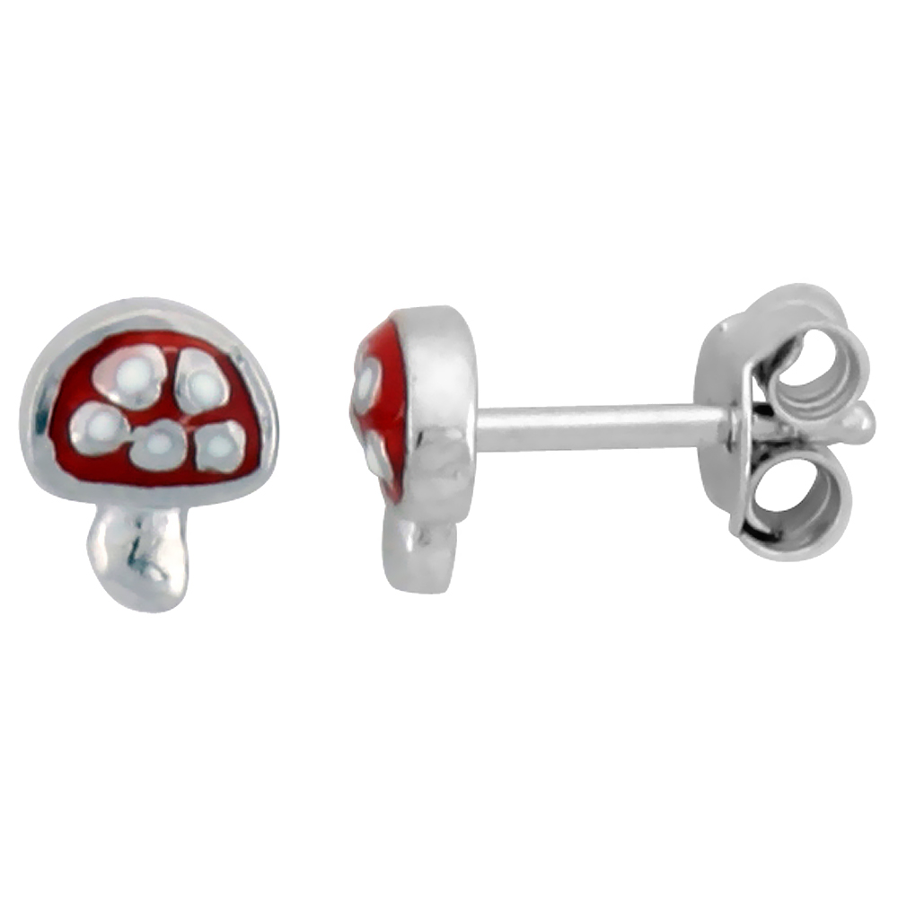 Sterling Silver Child Size Mushroom Earrings, w/ Red Enamel Design, 1/4 (6 mm) tall""
