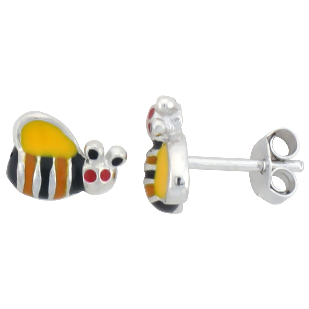 Sterling Silver Child Size Bumble Bee Earrings, w/ Yellow, Black & Orange Enamel Design, 5/16 (8 mm) wide""