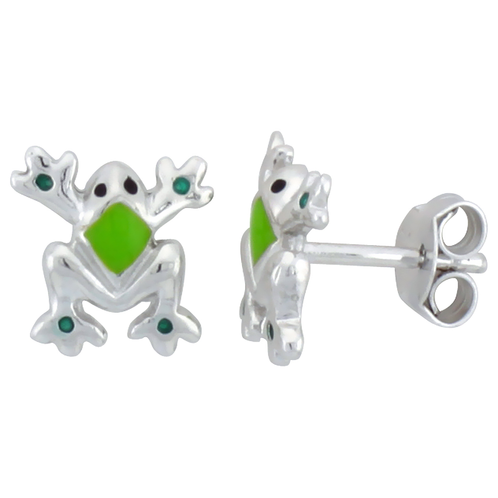 Sterling Silver Child Size Frog Earrings, w/ Green Enamel Design, 3/8 (9 mm) tall""