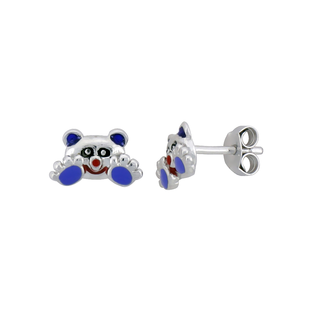 Sterling Silver Child Size Panda Bear Earrings, w/ Black, Lavender & Red Enamel Design, 1/4 (6 mm) tall""