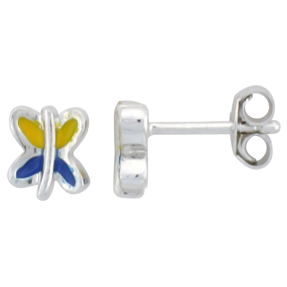 Sterling Silver Child Size Butterfly Earrings, w/ Blue & Yellow Enamel Design, 1/4 (6 mm) tall""
