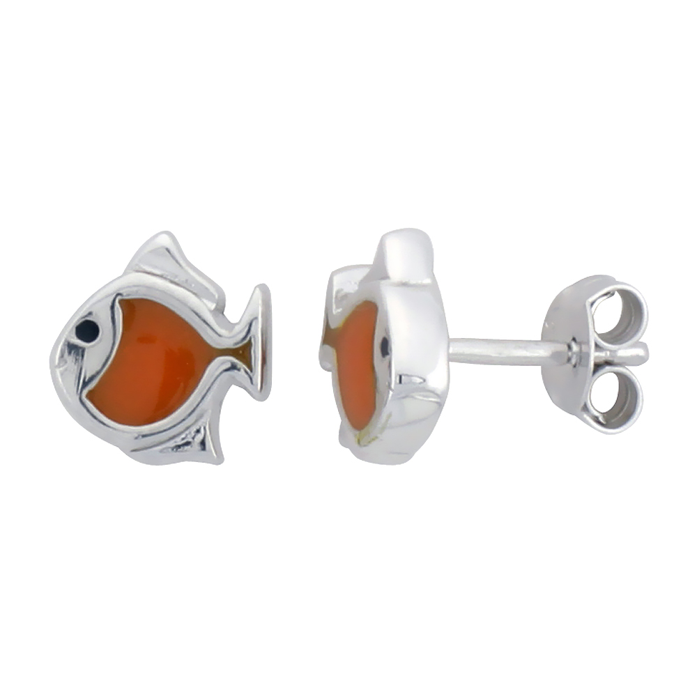 Sterling Silver Child Size Fish Earrings, w/ Orange Enamel Design, 5/16 (8 mm) tall""