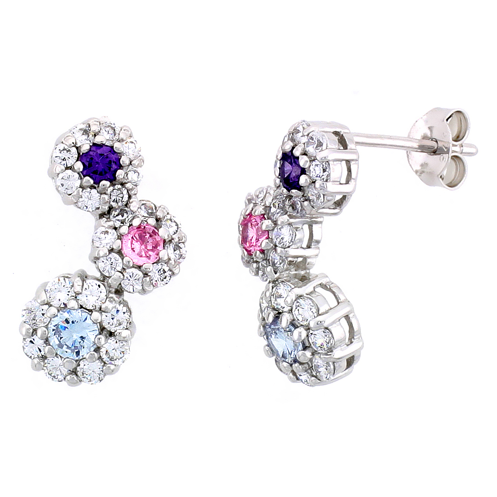 Sterling Silver Graduated Flower Earrings w/ Brilliant Cut Amethyst-colored, Pink Tourmaline-colored & Blue Topaz-colored CZ Stones, 3/4 (19 mm) tall""