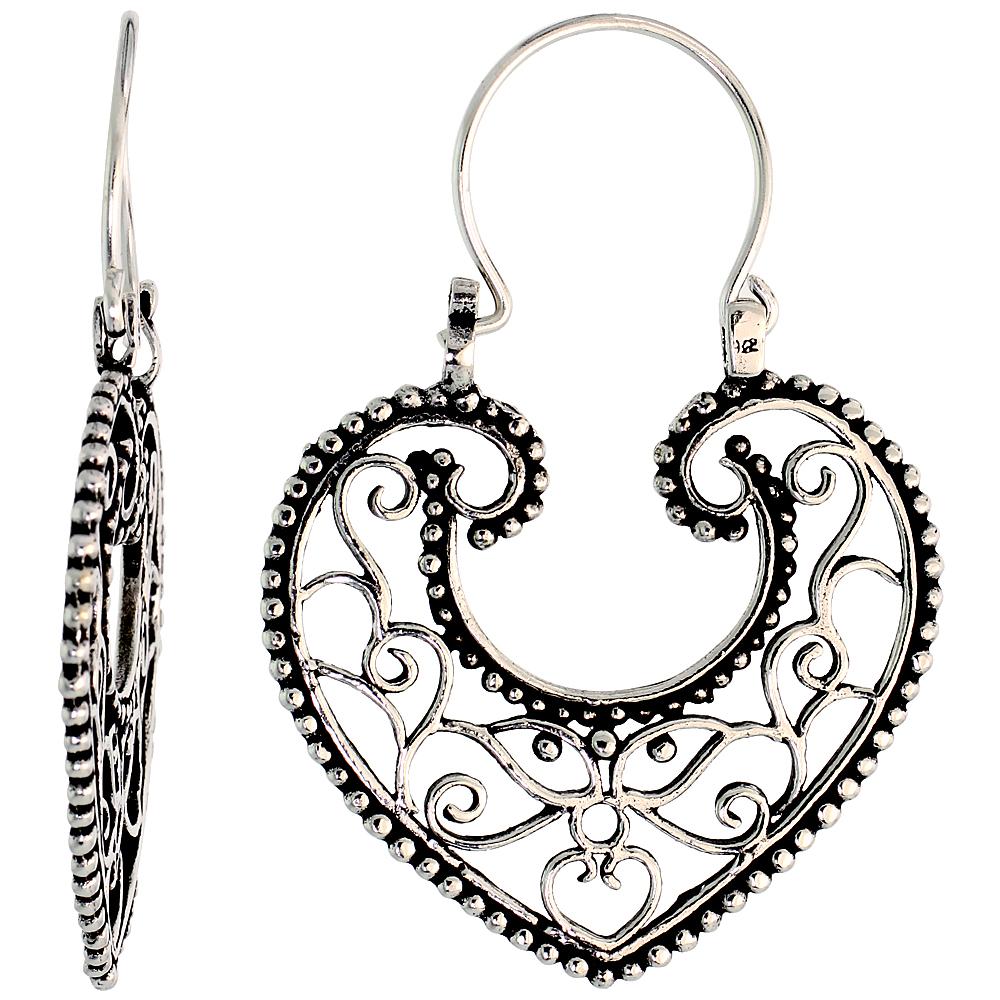 """Sterling Silver Filigree Heart Bali Earrings w/ Beads & Tribal Design, 1 3/8 (35 mm) tall"""""""