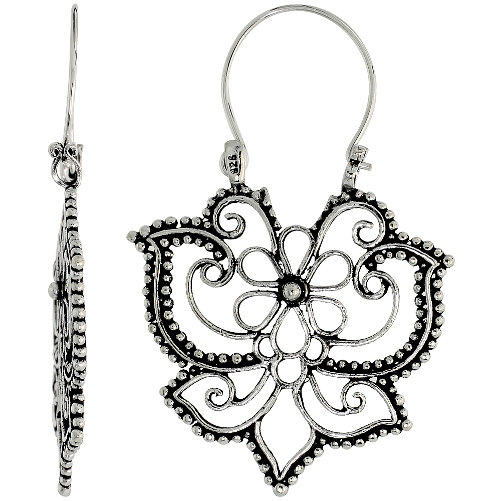 Sterling Silver Filigree Bali Earrings w/ Beads & Floral Design, 1 7/16 (36 mm) tall""