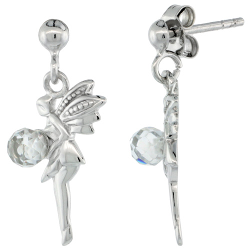 Sterling Silver Ball Post Fairy Earrings, with Crystal Ball, Rhodium Finish, 22mm (7/8 inch) long