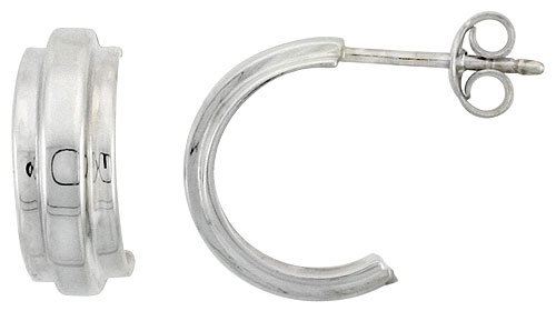 Sterling Silver Raised Center Stripe Half Hoop Post Earrings, 9/16 inch wide
