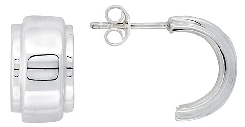 Sterling Silver Wide Raised Center Half Hoop Post Earrings, 5/8 inch wide