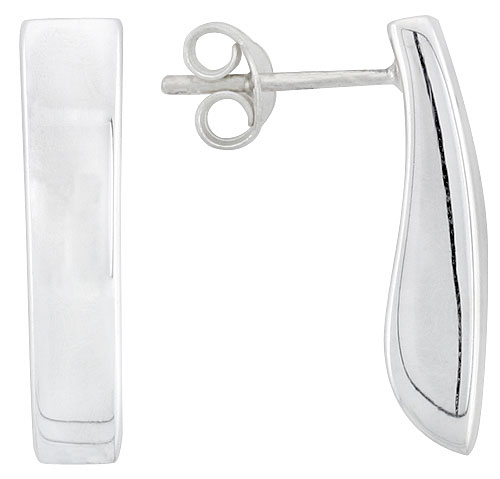 Sterling Silver Rectangular Post Earrings, 13/16 inch long