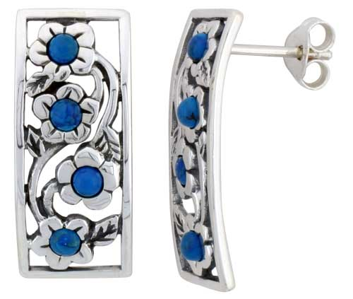 Sterling Silver Floral Blue Bead Rectangular Post Earrings, 7/8 inch wide