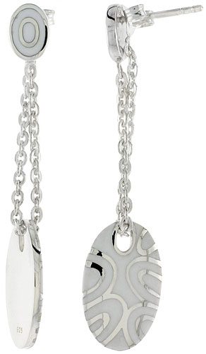 Sterling Silver Dangling Post Disc Earrings Oval White Enamel, 1 3/4 inches long