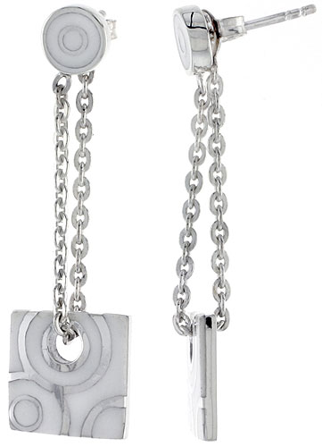 Sterling Silver Dangling Post Disc Earrings Square White Enamel, 1 3/4 inches long