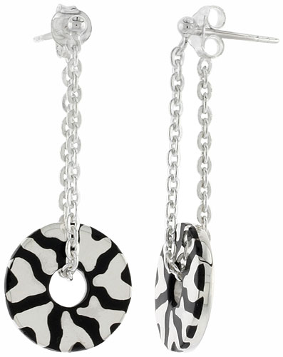 Sterling Silver Abstract Design Dangling Post Disc Earrings Round Black Enamel, 1 3/4 inches long