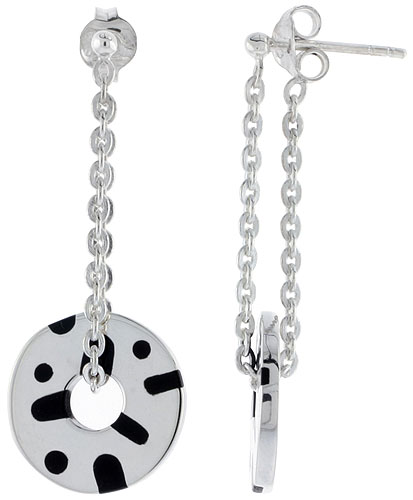 Sterling Silver Dots & Lines Dangling Post Disc Earrings Round Black Enamel, 1 3/4 inches long