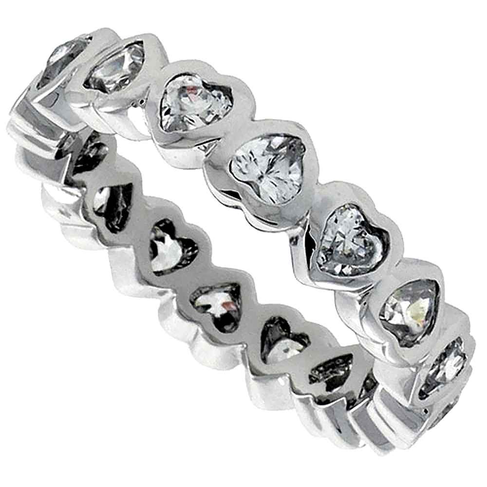 Sterling Silver Cubic Zirconia Eternity Band Ring Heart-shaped 3x3mm Rhodium finish, sizes 6 - 9