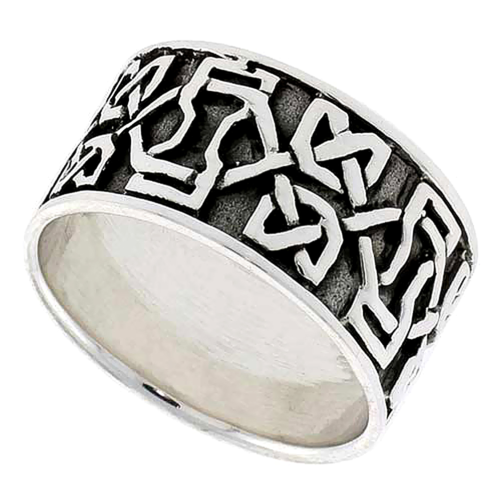Sterling Silver Dara Celtic Knot Ring Large Wedding Band Thumb Ring 7/16 inch wide, sizes 9-14