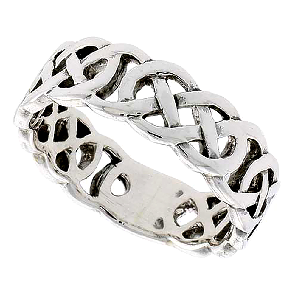 Sterling Silver Celtic Knot Ring flat Wedding Band Thumb Ring 1/4 inch wide, sizes 9-14
