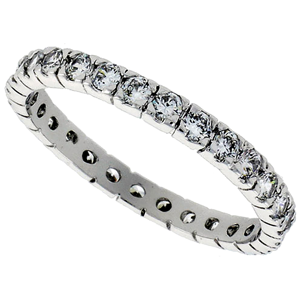 Sterling Silver Cubic Zirconia Eternity Ring 2mm Round Rhodium finish, sizes 6 - 9