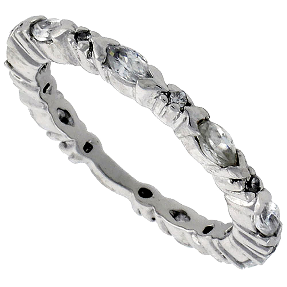 Sterling Silver Cubic Zirconia Eternity Ring Marquise Cut 4x2mm Rhodium finish, sizes 6 - 9