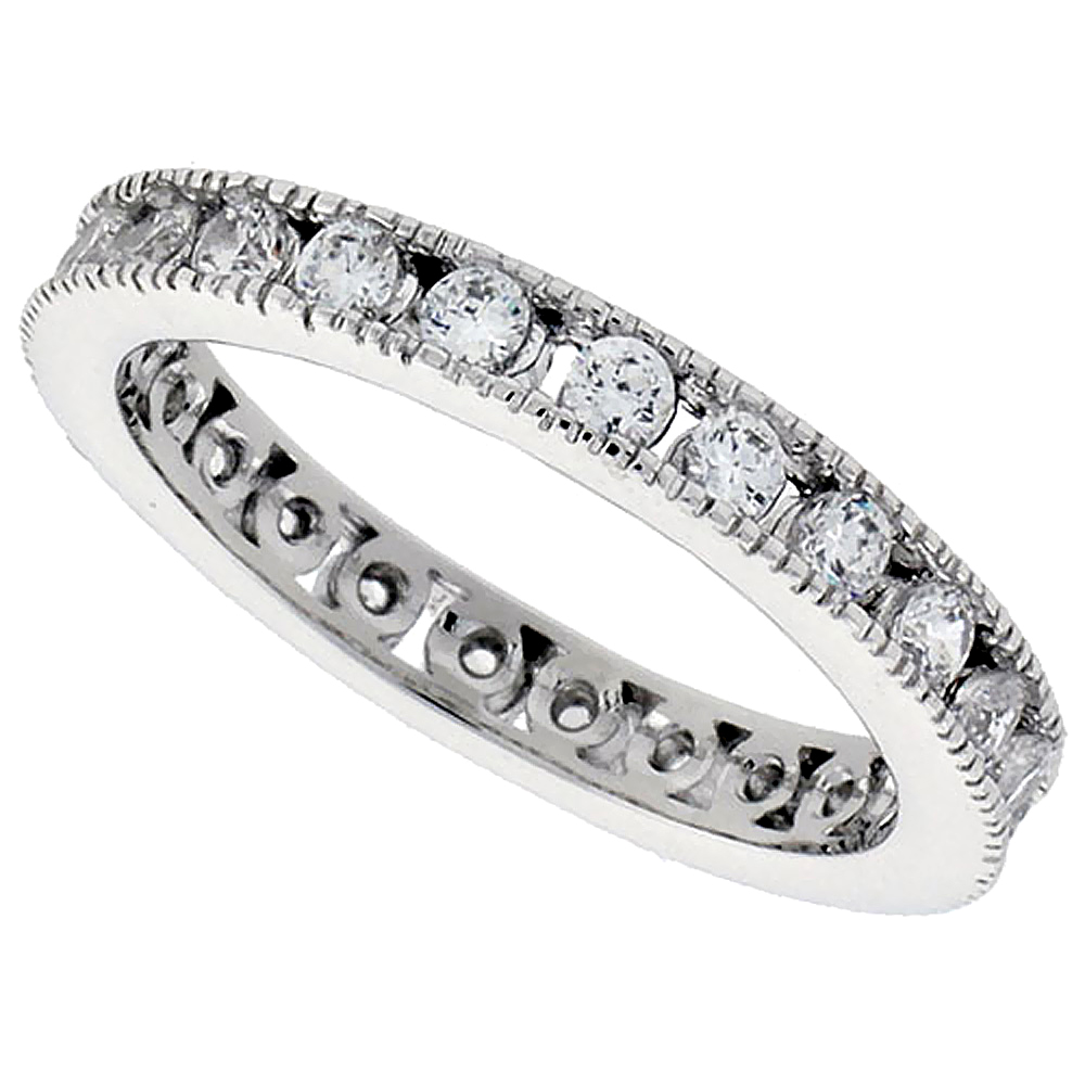 Sterling Silver Cubic Zirconia Eternity Ring Channel set 2mm Round Rhodium finish, sizes 6 - 9