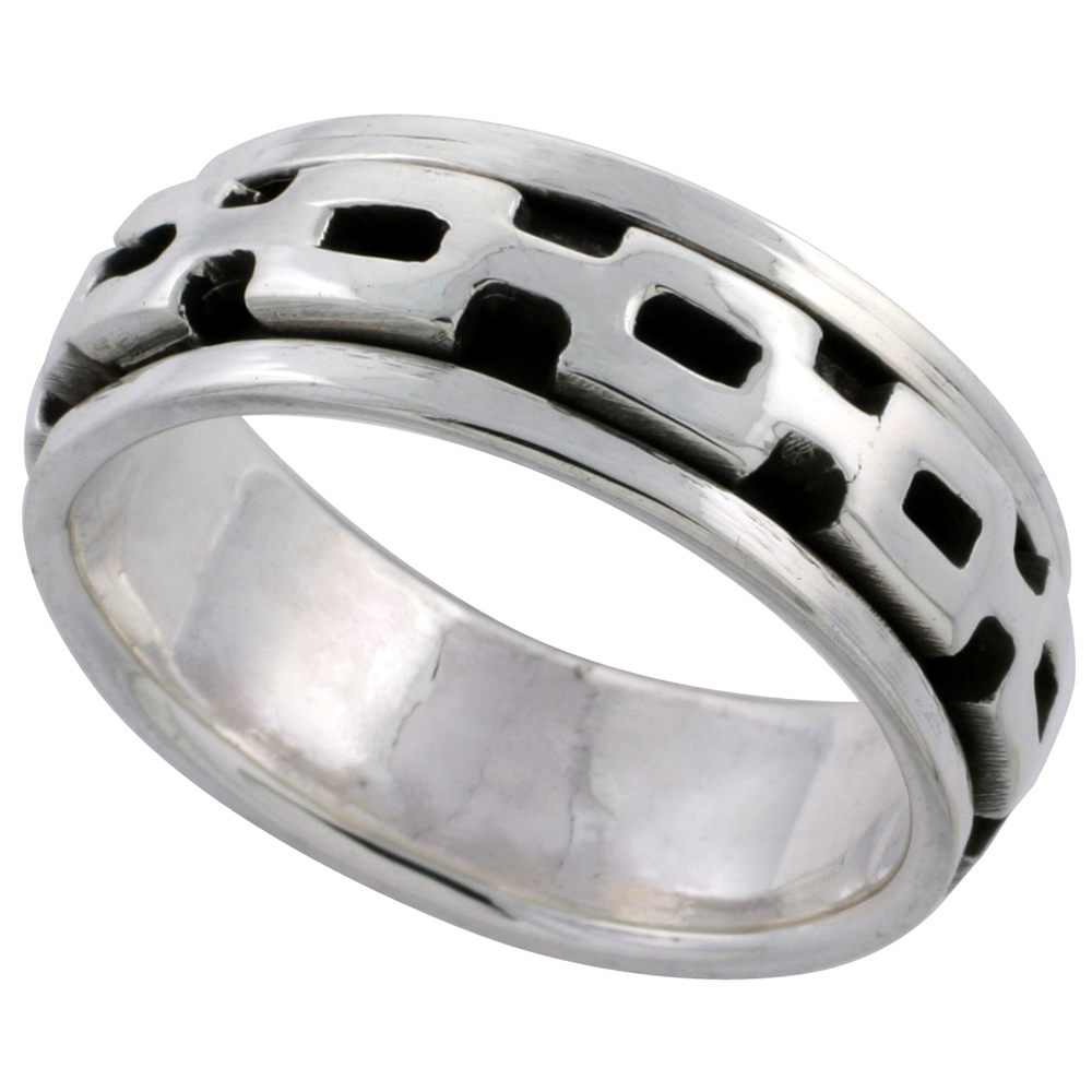 Sterling Silver Panther Link Design Spinner Ring 3/8 inch wide