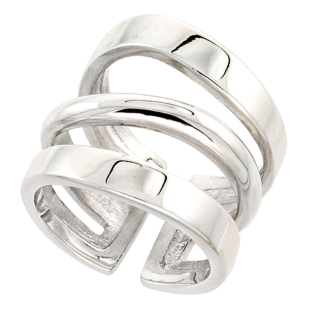 Sterling Silver Open Bottom Ring Flawless finish 3/4 inch wide, sizes 6 - 10