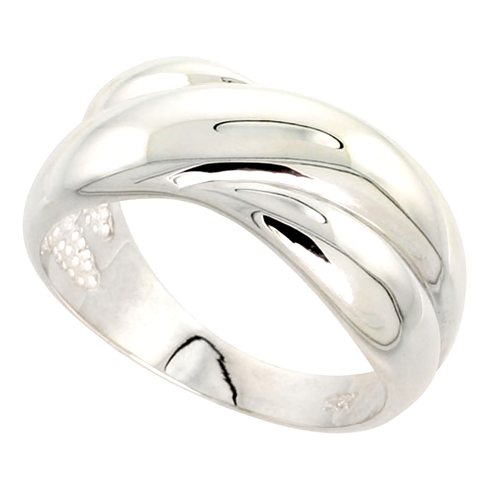 Sterling Silver Crisscross Domed Ring Flawless finish 3/8 inch wide, sizes 6 - 10