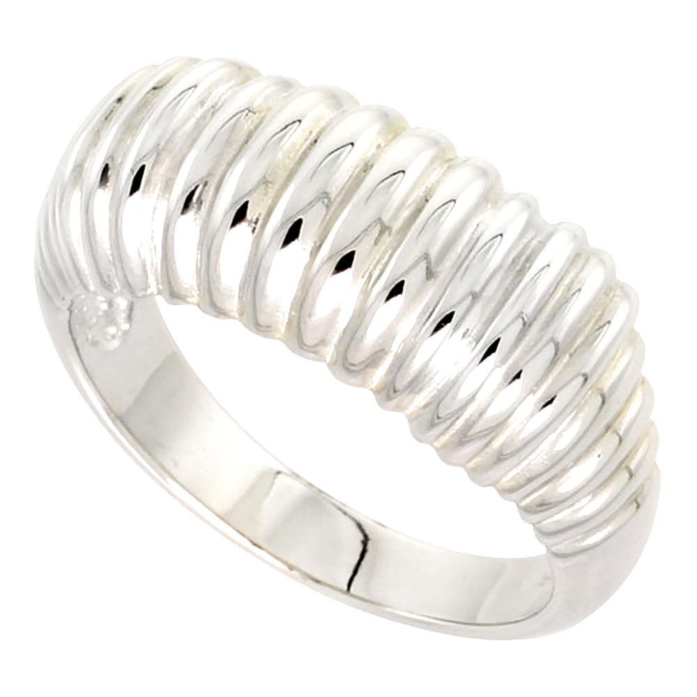 Sterling Silver Thin Ribbed Dome Ring Flawless finish 3/8 wide, sizes 6 - 10