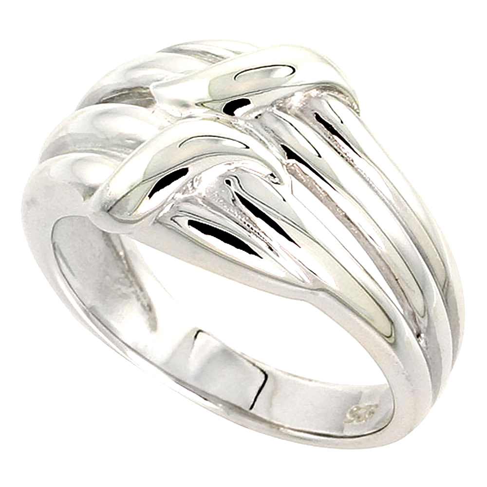 Sterling Silver Ribbon Ring Flawless finish 9/16 inch wide, sizes 6 to 10